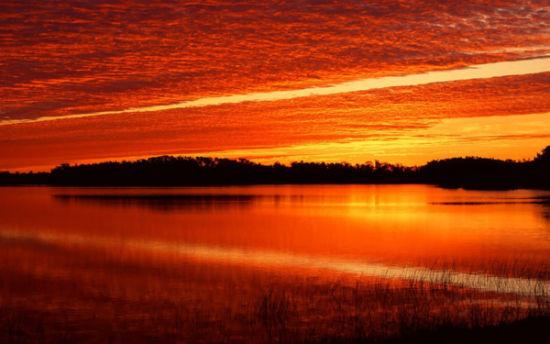 沙家浜湿地夕阳