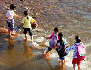 涉水过河的学生们