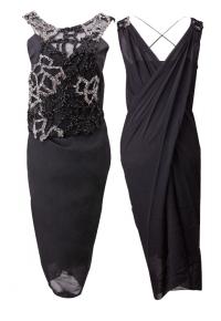Kang jin young:黑色褶皱钉珠连衣裙