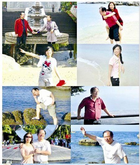 图为:罗先生一家人在海南旅游的照片