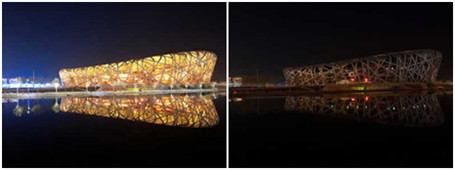 熄灯前后的北京鸟巢