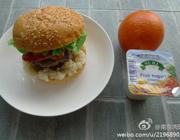 培根土豆泥双层牛堡+酸奶+橙