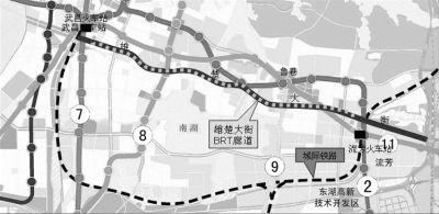首条BRT走廊一期走向示意图