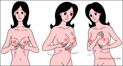 胸部中央 用左手检查右侧乳房是否有肿块