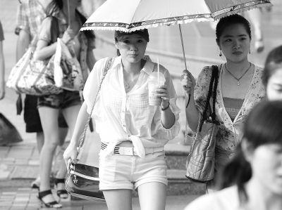 昨日,在汉口中山大道江汉路段的人行道上,一位靓女在遮阳伞下喝饮料消暑。记者 金思柳 摄