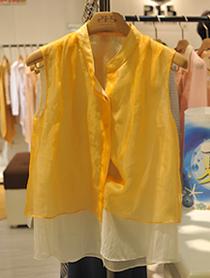 橘色透视无袖衬衫
