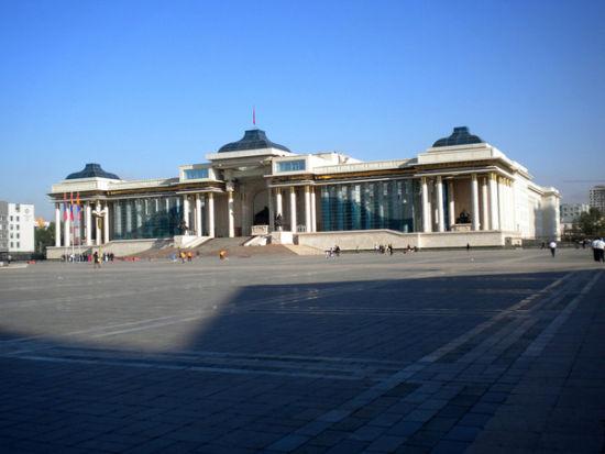 蒙古国政府的大广场