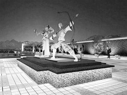 图为:郭靖黄蓉雕像规划图(从网络公开信息获取)