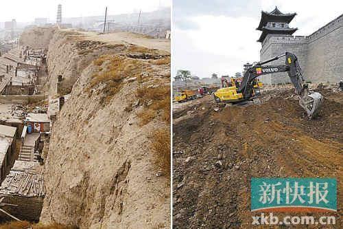 左为大同古城墙南城墙旧貌(资料图片);右为正在修建中的大同永和门广场(2012年8月10日摄)。