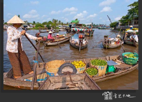 湄公河的水上市场