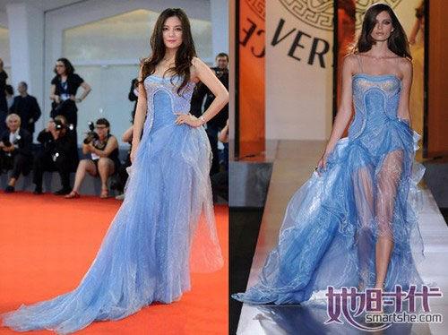 赵薇这套衣服是Versace高级定制的天蓝色抹胸透视长裙