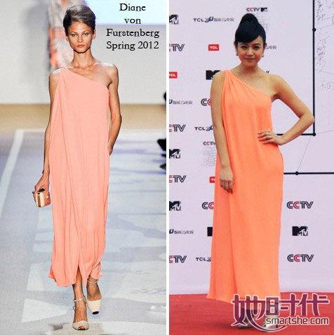 单肩亮色宽松长裙是Diane von Furstenberg2012新品