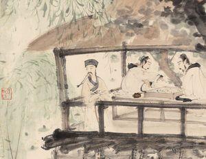 傅抱石《高士对弈图》(局部)