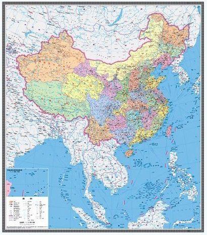 新版中国地图变竖版 全景展示中国陆海疆域的地图