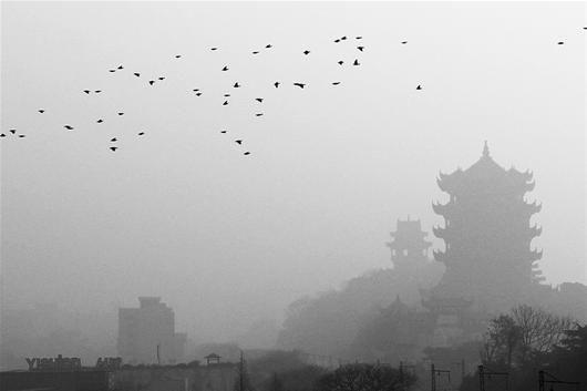 图为:黄鹤楼在雾霾中若隐若现 (实习生葛宇飞摄)