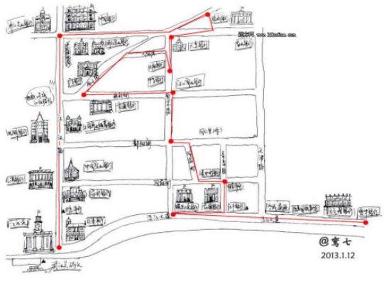 武汉老银行建筑游览路线图