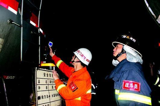 成功堵漏后,消防人员进行现场检测