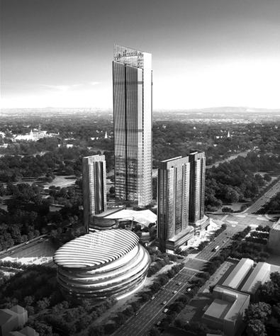 高楼东北侧日景鸟瞰(规划图)