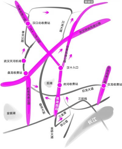 灰色路线为绕行路线 制 图:陈昌