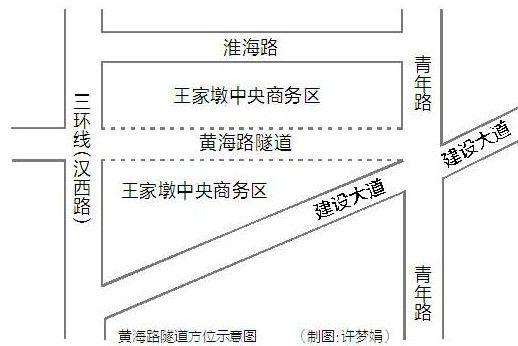 图为:黄海路隧道方位示意图 (制图:许梦娟)