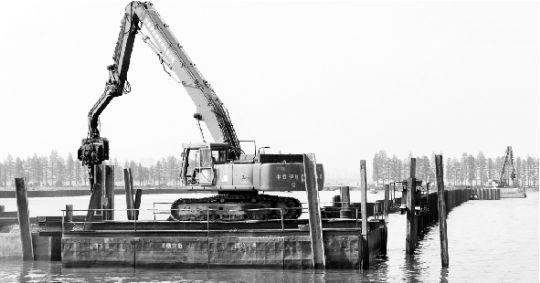 5日,东湖隧道工程在湖面上进行打桩填埋。本报记者 王筝 摄