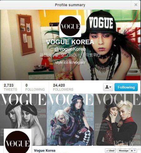 VOGUE KOREA 把 FACEBOOK 和 TWITTER 的封面都换成了权志龙