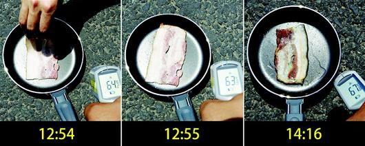 图为:7月30日12时54分,新华社记者往平底锅中放置了一片生培根,并将平底锅放置在上海徐家汇商圈的马路上。生培根片煎至八分熟一共用时约80分钟,整个过程中地面温度一直高于60℃。当日,申城最高气温达39℃。 新华社发
