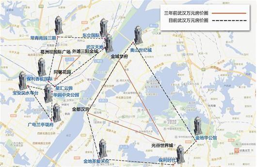 图为:示意图虚线范围内新楼盘每平方米均价大多在万元以上 制图/邬雪婷 刘阳