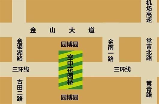 """图为:园博园""""空中花园桥""""效果图(施工方提供)"""