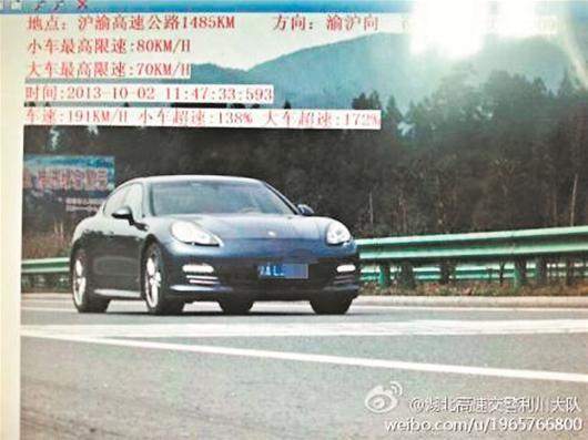 图为:超速行驶的保时捷