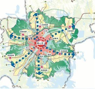 图为:武汉医疗卫生机构设施空间布局规划图