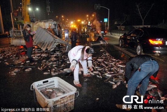 湖北宜昌一运鱼车侧翻,7000多斤鲜鱼洒满道路。图片来源:jumely/东方IC
