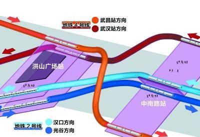 地铁2号线与4号线在洪山广场站和中南路站实现连续换乘。 制图陶刚