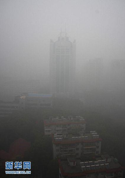 1月29日,武汉城区被大雾笼罩