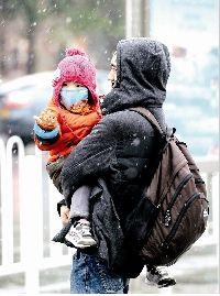 图为:8日下午,江城再迎降雪,气温再度走低 记者姚品摄于武昌阅马场
