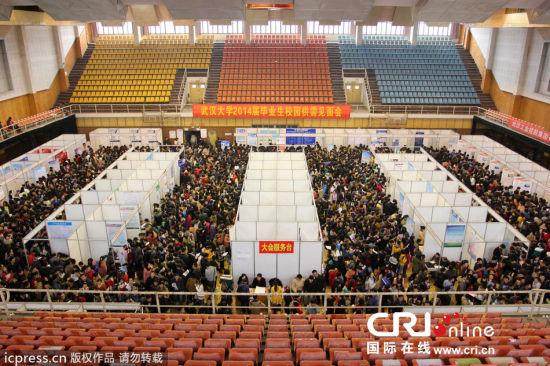 2013年3月8日,武汉大学2014届毕业生春季校园供需见面会在该校工学部体育场火爆进行,2万学子挤爆见面会。图片来源:楚林/东方IC