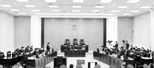 昨日,刘汉、刘维等36人涉黑案在湖北省咸宁市中级人民法院一审公开开庭审理。 新华社图