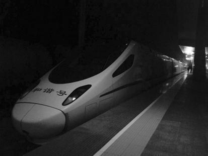 图为:动车开进恩施火车站。