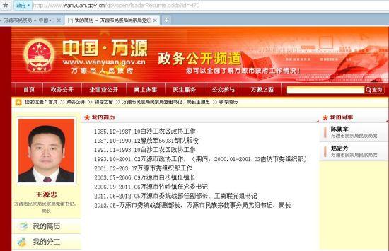 图注:万源政府网显示,万源民宗局局长名为王源忠。2006年至20011年任竹峪镇党委书记。
