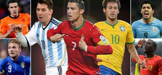 2014世界杯10大金靴候选:梅西压C罗内马尔居