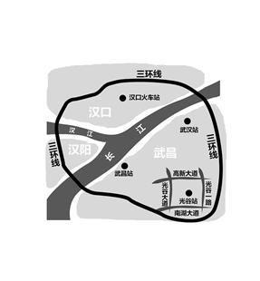 图为:光谷火车站地理方位示意图 (制图:罗怿)