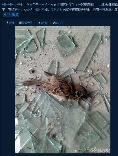附近民居玻璃被震碎(图片来自微博)
