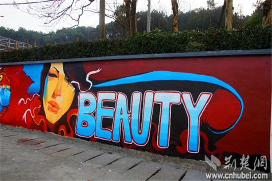 武汉一高校打造最美手绘文化墙