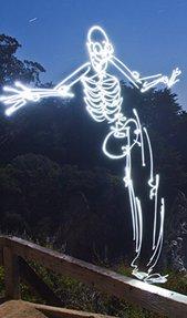 261秒曝光绘制而成的骷髅