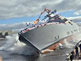 实拍美军3000吨濒海战斗舰下水壮观瞬间