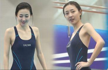 王丽坤跳水素颜靓丽清秀获赞女神